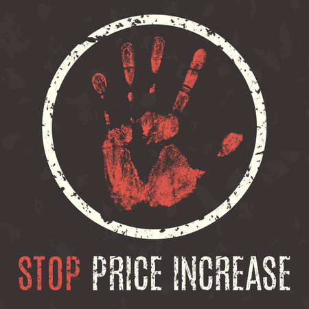 Conceptual vector illustration. Global problems of humanity. Stop price increase sign. Vettoriali