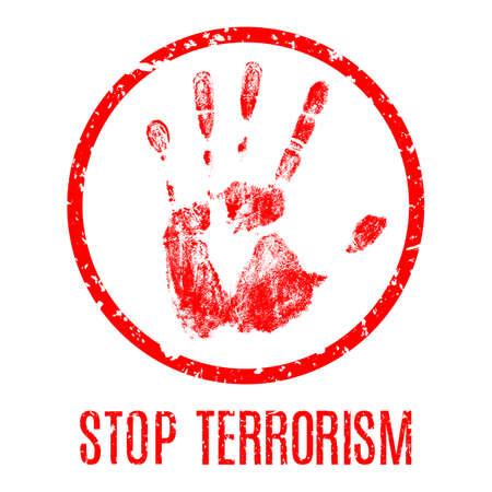 Vector handafdruk met inscriptie Stop terrorisme Stock Illustratie