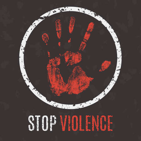 anti social: Conceptual vector illustration. Global problems of humanity. Stop violence sign.
