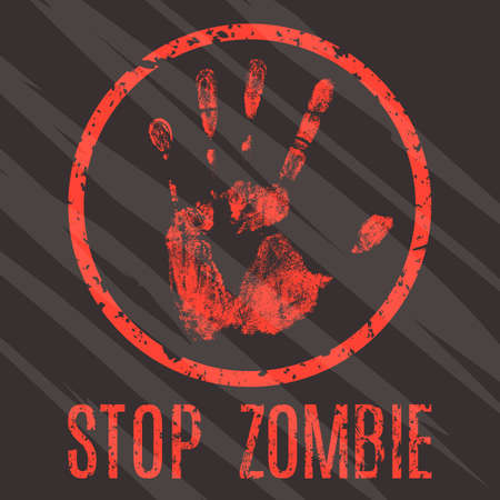 laceration: Conceptual vector illustration. Sign stop zombie.