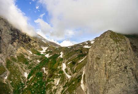 fisht: Aerial Photos. Fischt-Oshtensky pass. Caucasus Mountains. Stock Photo