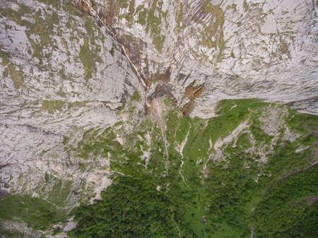 fisht: Aerial photo top view. Fisht waterfall. Caucasus Nature Reserve. Lago-Naki plateau, Fischt-Oshtenovsky array, Caucasus mountain system.