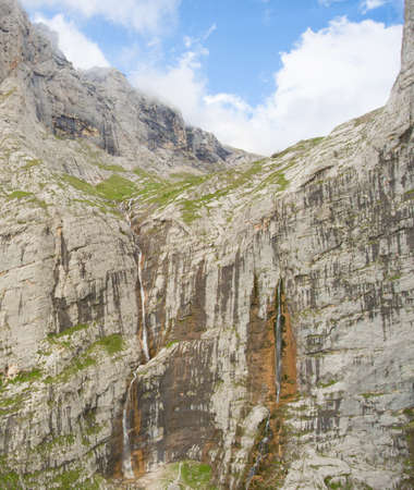 fisht: Pshehsky waterfall or Vodopadisty creek. The height of the waterfall is 165 meters. Caucasus Nature Reserve. Caucasus mountain.