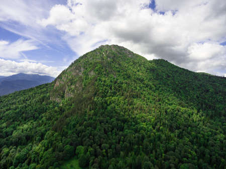 circassian: Aerial view of the mountain  Chernogor  ( Sleeping Circassian ). The height of 1753.9 meters above sea level. Absheron district of Krasnodar region.