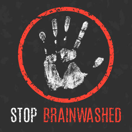 manipulate: Conceptual vector illustration. Stop brainwashing.