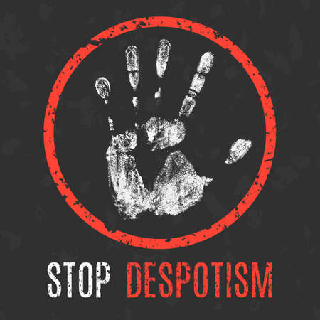 Conceptual vector illustration. Global problems of humanity. Stop despotism Illustration