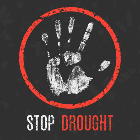 dry land: Conceptual vector illustration. Global problems of humanity. Stop drought.