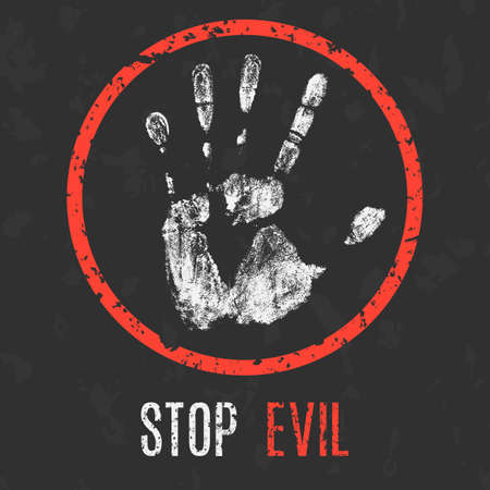 madman: Conceptual vector illustration. Global problems of humanity. Stop evil sign.