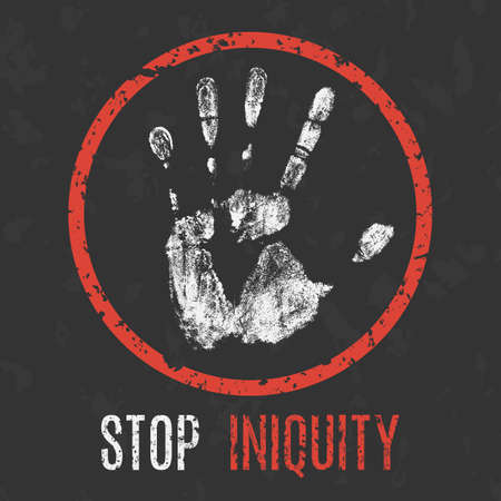 tribunal: Conceptual vector illustration. Global problems of humanity. Stop iniquity sign.