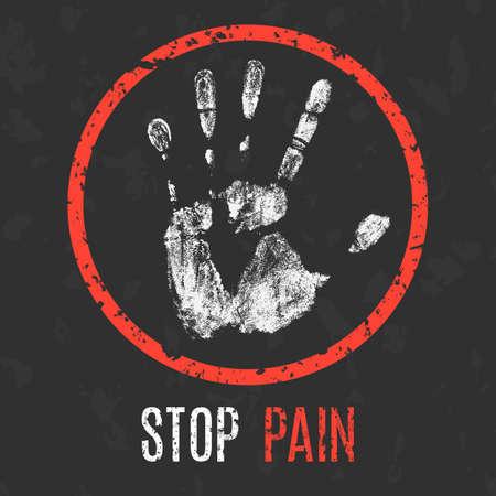 Konzeptionelle Vektor-Illustration. Krankheiten des Menschen. Stoppen Sie Schmerzen.