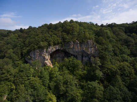 Aerial Photos. The cave entrance is emblazoned on the side of a mountain covered with forest.