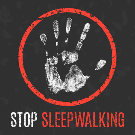 somnambulism: Conceptual vector illustration. Human diseases. Stop sleepwalking.