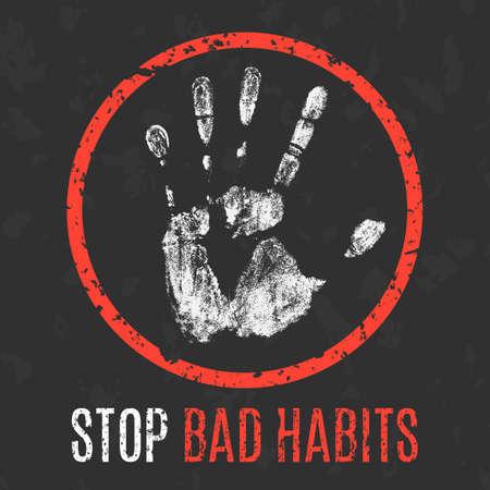 malos habitos: ilustración vectorial conceptual. Las enfermedades humanas. Deja de malos hábitos. Vectores