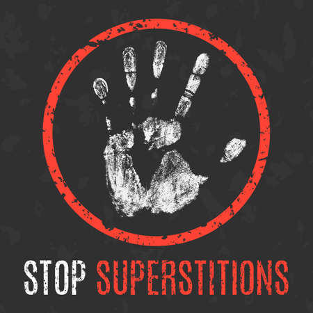 inexplicable: Conceptual vector illustration. Negative human states and emotions. Stop superstitions sign. Illustration