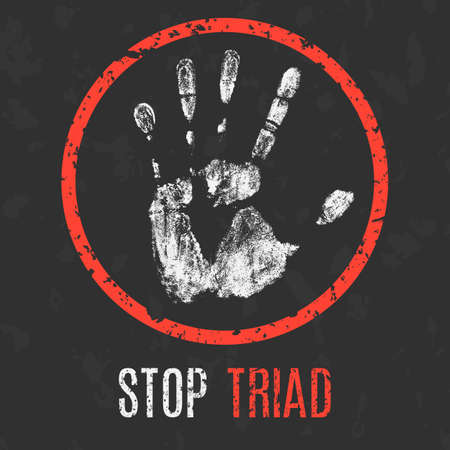 trafficking: Conceptual vector illustration. Global problems of humanity. Stop Triad sign. Illustration