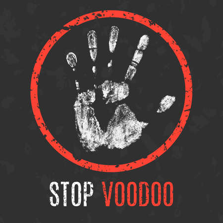 damnation: Conceptual vector illustration. Global problems of humanity. Stop voodoo sign.