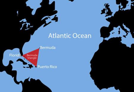 Schematic vector map of the Bermuda Triangle. Vettoriali