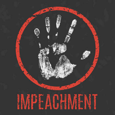 dissatisfaction: Vector illustration. impeachment inscription