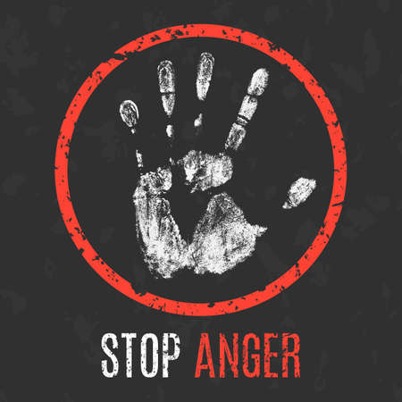 Conceptual vector illustration. Global problems of humanity. Stop anger sign.