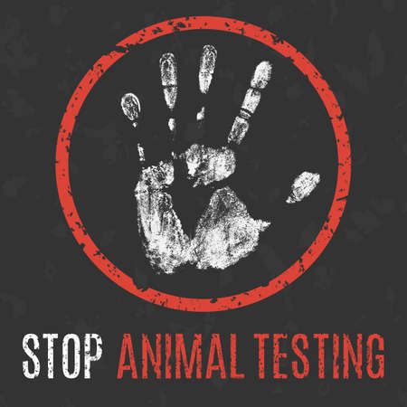Conceptual vector illustration. Global problems of humanity. Stop animal testing sign.