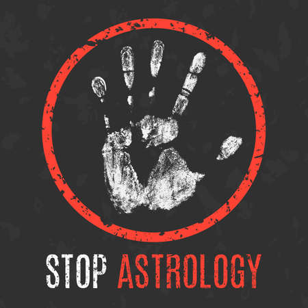 social problems: Conceptual vector illustration. Social problems of humanity. Stop astrology sign.