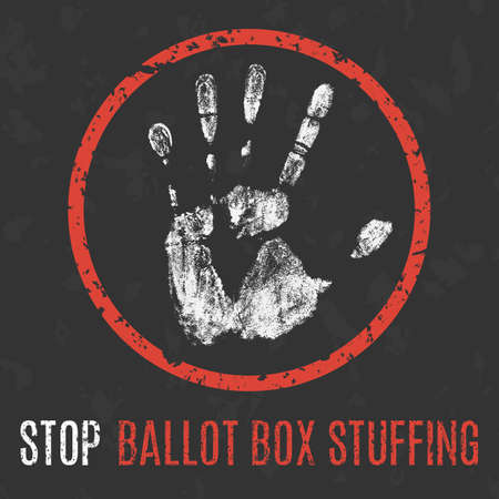 Conceptual vector illustration. Social problems of humanity. Stop ballot box stuffing sign.