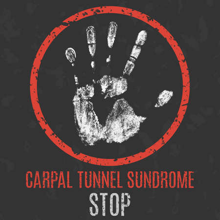 Conceptual vector illustration. Human diseases. Stop carpal tunnel syndrome. Çizim