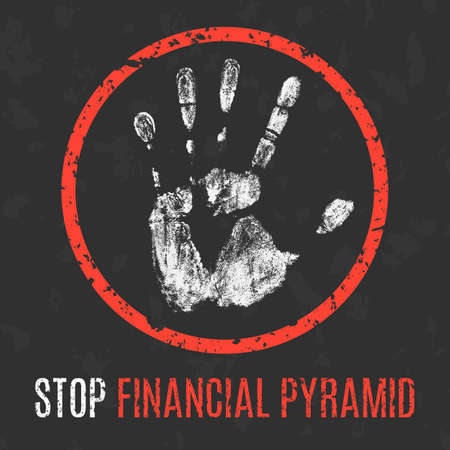 deposition: Conceptual vector illustration. Social problems of humanity. Stop financial pyramid sign.
