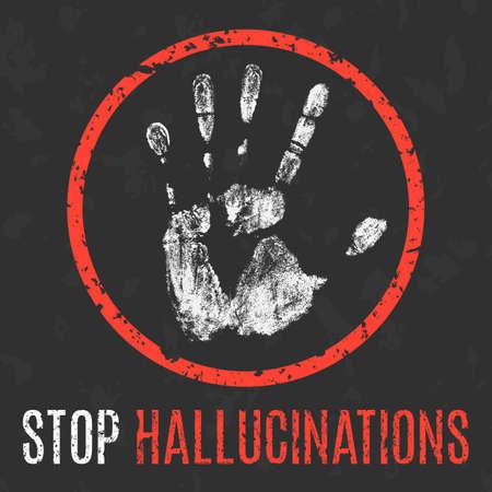 paranoia: Conceptual vector illustration. Human diseases. Stop hallucinations.