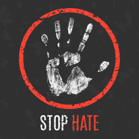 oppose: Conceptual vector illustration. Negative human states and emotions. Stop hate sign.