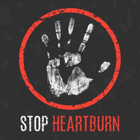 convalescence: Conceptual vector illustration. Human diseases. Stop  heartburn.