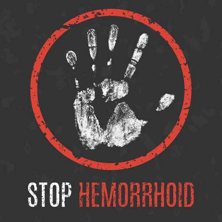 hemorrhoid: Conceptual vector illustration. Human diseases. Stop hemorrhoid.