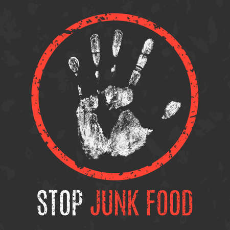 lesion: Conceptual vector illustration. Global problems of humanity. Stop Junk Food sign.