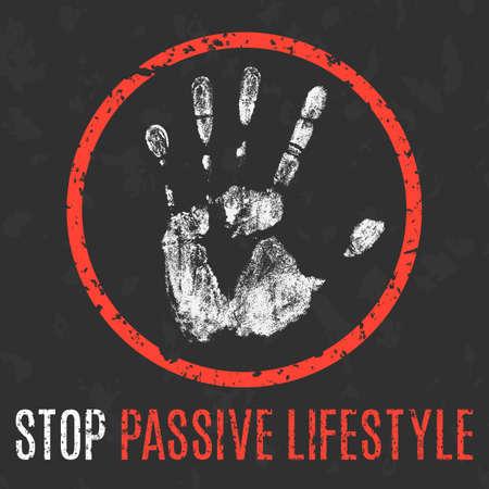 Conceptual vector illustration. Human diseases. Stop passive lifestyle.