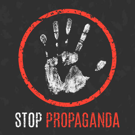 geopolitics: Conceptual vector illustration. Social problems of humanity. Stop propaganda sign.