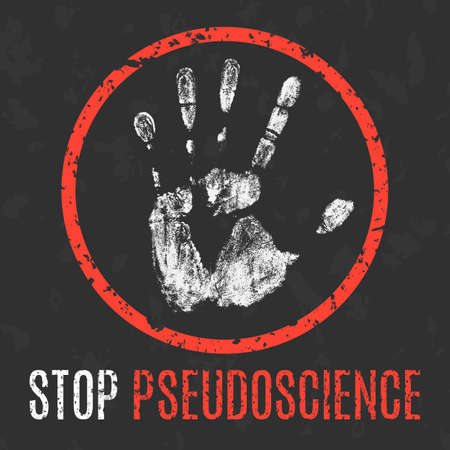 Conceptual vector illustration. Social problems of humanity. Stop pseudoscience sign.