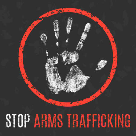 permit: Conceptual vector illustration. Global problems of humanity. Stop arms trafficking sign.