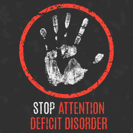 deficit: Vector illustration. Human diseases. Stop stop attention deficit disorder