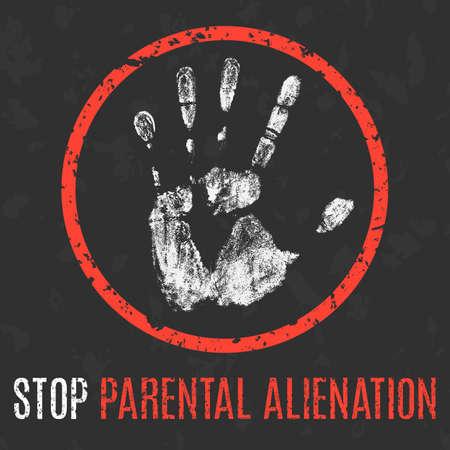 Conceptual vector illustration. Social problems of humanity. Stop parental alienation.