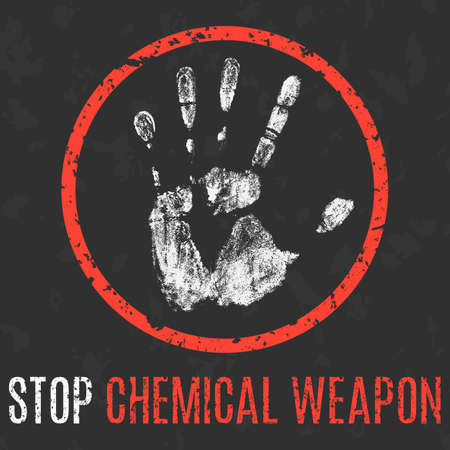 humanity: Conceptual vector illustration. Global problems of humanity. Stop chemical weapon sign.
