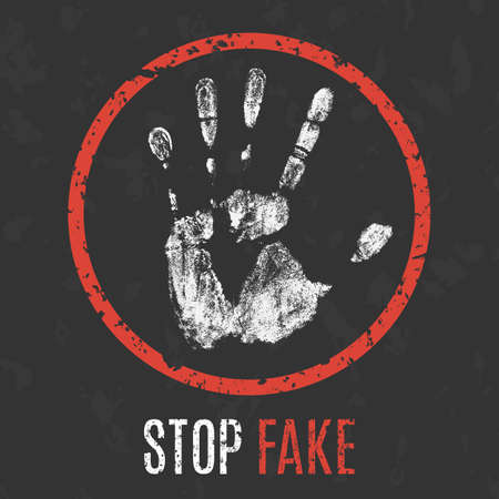 Conceptual vector illustration. Social problems of humanity. Stop fake sign.