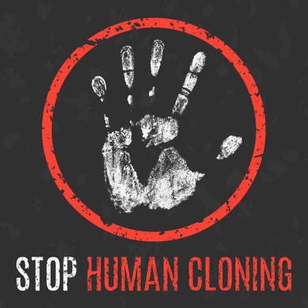 clonacion: Conceptual vector illustration. Social problems of humanity. Stop human cloning sign.