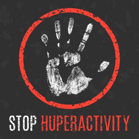 wścieklizna: Conceptual vector illustration. Human diseases. Stop hyperactivity.