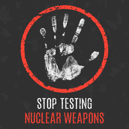 elimination: Conceptual vector illustration. Global problems of humanity. Stop nuclear weapons testing.