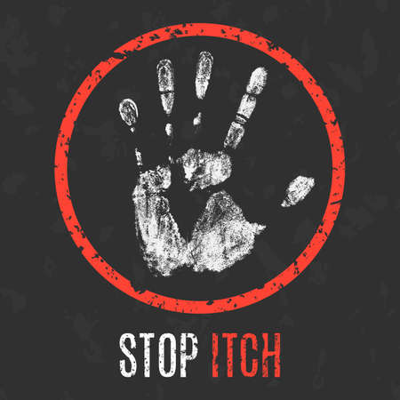 itch: Conceptual vector illustration. Human diseases. Stop itch. Illustration
