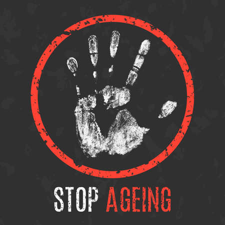 anti age: Conceptual vector illustration. Human diseases. Stop ageing.