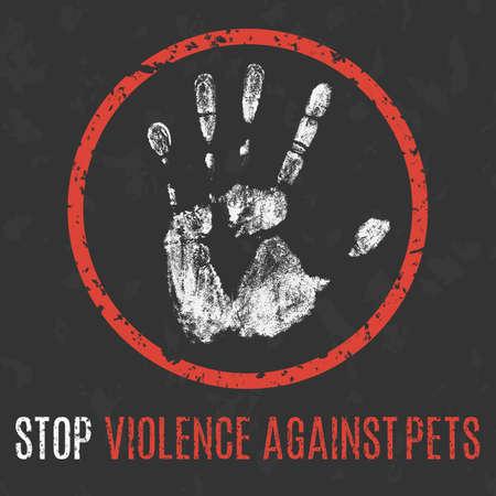 illustrazione vettoriale concettuale. I problemi sociali dell'umanità. Stop alla violenza contro gli animali domestici segno.