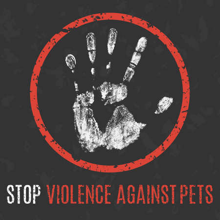 Conceptual vector illustration. Social problems of humanity. Stop violence against pets sign. Vettoriali