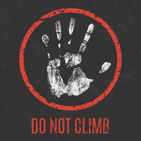 prohibiting: Prohibiting vector sign. Do not climb.