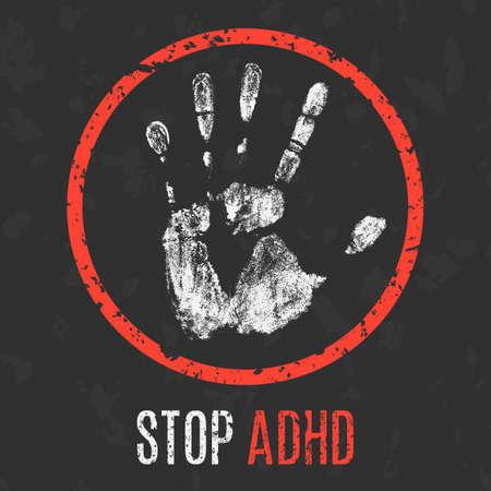 hyperactivity: Conceptual vector illustration. Human diseases. Stop ADHD.